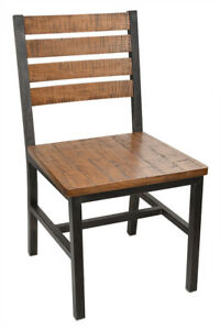 New Elliot Steel Chair With Distressed Wood Seat And Back
