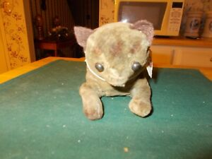Late 1800s Early 1900s Velvet Cat Toy In Crouching Condition Velvet Straw Stuffe