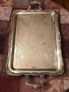 Vtg Wm Rogers Eagle Large Heavy Rectangular Silverplate Butler Tray 28 X 16 5