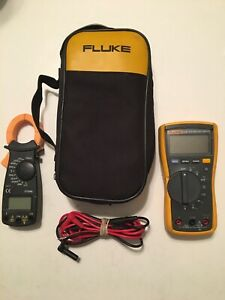 Fluke 115 True Rms Multimeter With Leads And Free Dt3266l Clamp Meter In Case