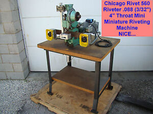 Chicago Rivet 560 Riveter 088 3 32 4 Throat Mini Miniature Riveting Machine
