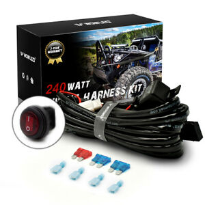 Universal 2 Lead Waterproof Wiring Harness Loom Control 2 Driving Work Light Bar