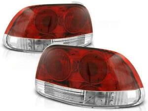 Red Chrome Finish Tail Rear Lights For Honda Crx Del Sol From 92 97