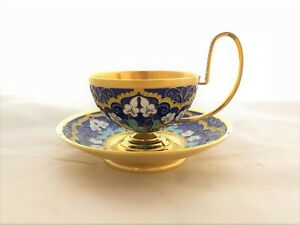 Russian Silver And Enamel Big Cup And Saucer Set