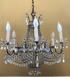 Antique Dramatic Art Deco Flapper Macaroni Beaded Chandelier Crystal Bagues