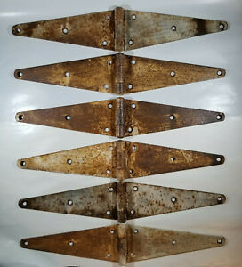 Strap Hinges Farm Barn Gate Door Rustic 6 Lot 20 Vintage Large Cast Iron Salvag
