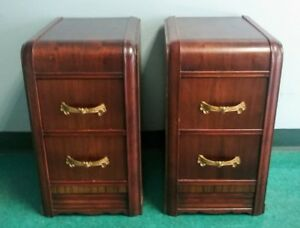 Pair Antique Art Deco 1930 S 40 S Two Drawer Waterfall Nightstands End Tables