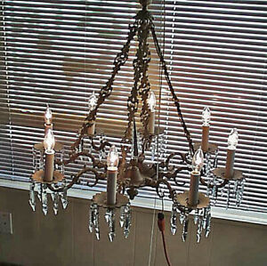 C1940 Crystal And Brass Working Electric Chandelier Two Sconces Crystals