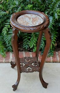 Antique French Oak Round 2 Tier Marble Top Display Table Plant Stand Pedestal