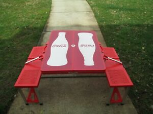 Coca-Cola Red Folding Portable Picnic Table Contour Bottle Silhouette BRAND NEW