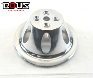 Aluminum Sbc Chevy 350 383 Short Water Pump Pulley 1 Groove Polished Bpe 5008p