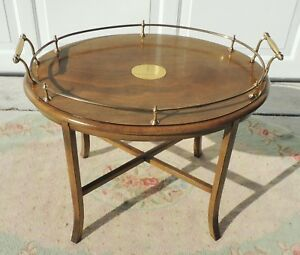 Antique Vtg 25 Solid Oak Wood Brass Gallery Oval Side End Accent Table 5419