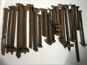 Antique Iron Bolts W Square Heads Nuts Carriage Bolts