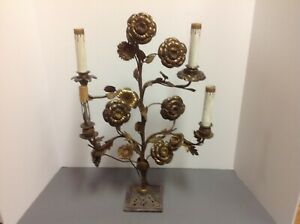 Antique Brass French Style Large Flowers Lamp Candelabra