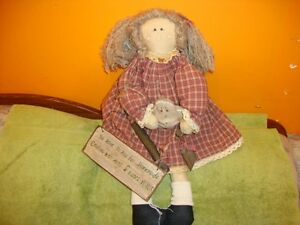 Rare Vintage Antique Primitive Raggedy Ann Doll With Sign