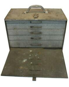 Vintage Metal Machinist Toolbox 5 Drawers Industrial Tool Chest Shop Box