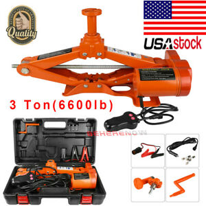 3 Ton Car Auto Electric Jack Lift Scissor Jack Dc 12v Tyre Repair Tool Kit Usa