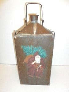 Santa Antique Tin Jug W Santa Painted On The Front Neat