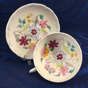 Foley Vintage Folk Art Shabby Chic Bone China Tea Cup Saucer England Teacup