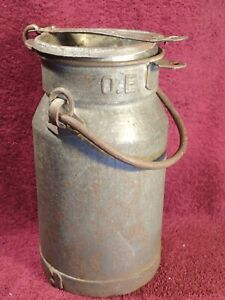 Small Rustic Decorative Antique 1920 S Tin Milk Can W Handle Scandinavian