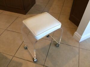 Vintage Akko Waterfall Lucite Acrylic Vanity Stool Bench With Chrome Casters