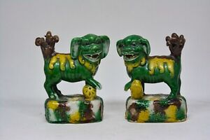 Antique Chinese Pair Foo Dogs Figurines 4 Inches Tall