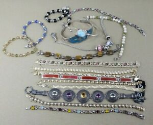 925 Sterling Silver Lot Of 18 Pre Owned Bracelets Scrap Or Wear 266 9 Grams