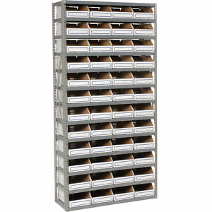 Open Bin Shelving W 13 Shelves 48 White Bins 36x12x73 Lot Of 1
