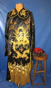 Chinese Silk Robe With Dragons Gold Embroidery Beijing Opera Company