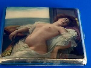 German Antique Enamel Sterling Silver Erotica Nud Cigarette Case
