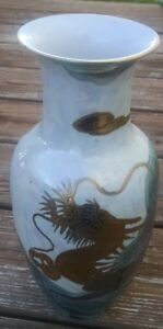 Chinese Porcelain Vase Dragon In Clouds 10 Tall Hand Painted In Macau