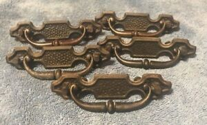 Vintage Metal Drop Handle Drawer Pulls Handles Set Of 5 4 75 Long