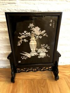 Chinese Lacquerware Wood Table Screen W Stand Mother Of Pearl
