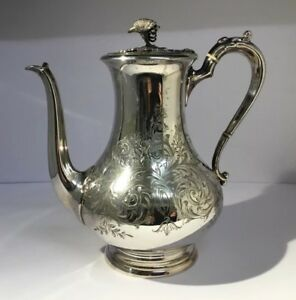 Victorian Teapot Silver Plate Coffee Pot Jug Footed Lamp Shape Ornate Engraving