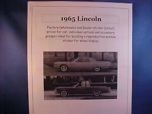 1965 Lincoln Continental Factory Cost Dealer Sticker Prices For Car Options