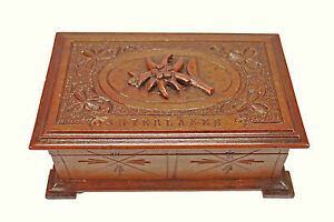 Vintage Edelweiss Carved Jewellery Box Interlaken Switzerland