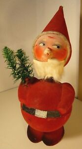 Antique Bobble Head Santa Clause Christmas Candy Container Decor Germany