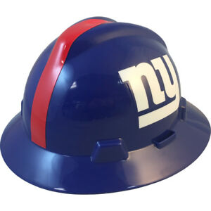 Msa V gard Full Brim New York Giants Nfl Hard Hat Type 3 Ratchet Suspension