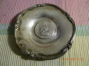 Ornate Art Engraved Silver Dish With 1952 Ben Franklin Silver Coin In Center