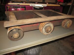 Antique Railroad Hit Miss Engine Cart 6 Wheels Iron 24 X 16 X 60 Pounds