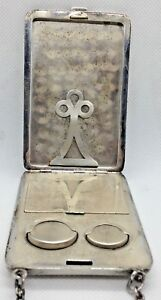 Vintage Antique Sterling Silver 925 Compact Make Up Coin Holder Purse 143 Grams