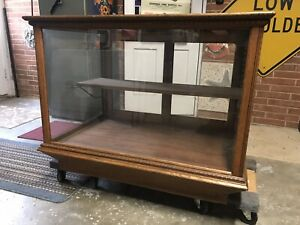 Antique Country Store Display Showcase Oak Wood Wavy Old Glass
