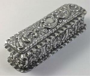 Antique Hallmarked Sterling Silver Trinket Ring Pin Box 1902 59g