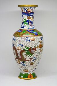 Gorgeous Chinese Export Cloisonne Dragon Large Vase 12 Inches Tall Marked
