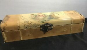Antique Celluloid Lined Wood Victorian Courting Couple Jewelery Vanity Box