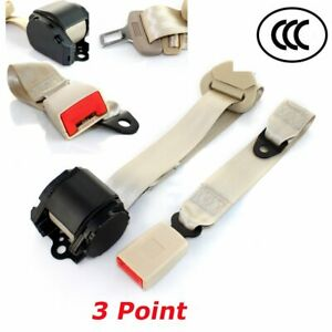 For Honda Car Vehical 3 Point Safety Retractable Seat Belt Universal Strap Beige