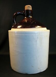 Antique Glazed Pottery Stoneware Crock Whiskey Moonshine Water Beer Jug Bottle