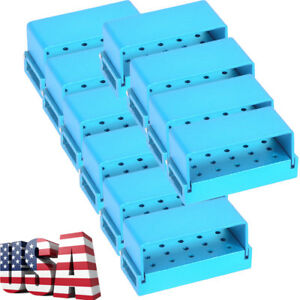 10pcs Dental Aluminum Bur Case Burs Holder Disinfection Box 15 Holes Sales
