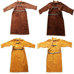 Leather Welding Work Apron Heat Resistant Flame Resistant For Men Bbq