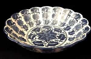 Vintage Hand Painted Blue And White 10 Oriental Rose Scalloped Serving Bowl